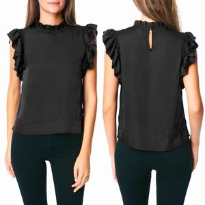 NWT JOES JEANS SHIRRED SLEEVE SHELL BLOUSE